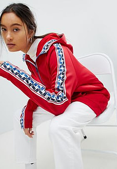 Nike Half Zip Track Jacket In Red With Taped side stripe