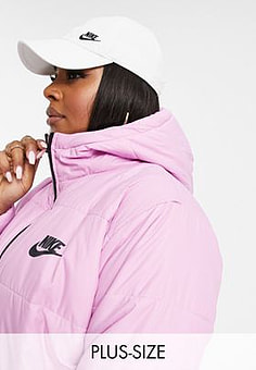 Nike Plus padded jacket with back swoosh in soft pink