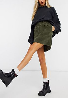 Noisy May cord mini skirt with paperbag waist in khaki-Green