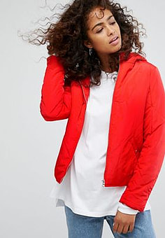 Noisy May padded jacket with hood in red