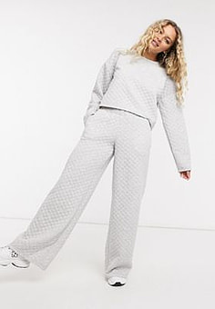 Noisy May quilted wide leg trouser co-ord in grey