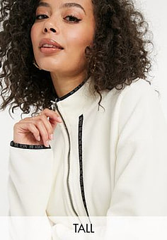 Noisy May fleece with contrast trims in cream