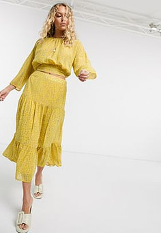 Only chiffon midi skirt co-ord in yellow ditsy floral-Multi