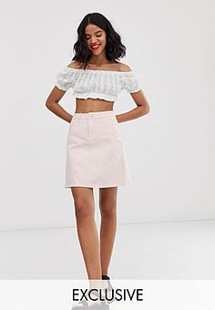 Only denim mini skirt in washed pink