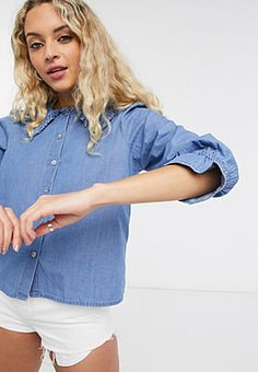 Only denim shirt with collar detail in blue