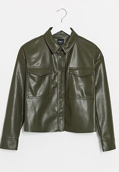 Only leather look shirt jacket in green-Black