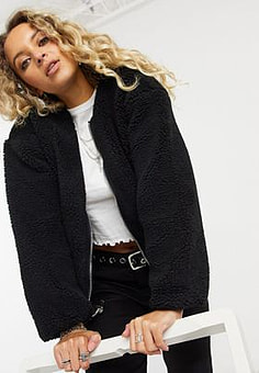Only reversible teddy bomber jacket in black