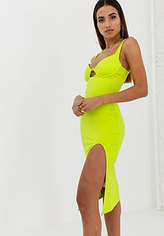 Parallel Lines bodycon midi dress with structured bralet-Green