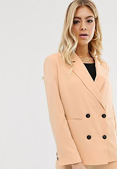 Parallel Lines soft tailored blazer with button detail in caramel-Beige