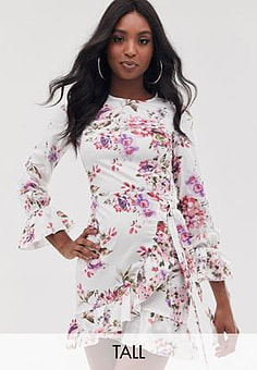 Parisian floral mini dress with fluted sleeve detail-Cream