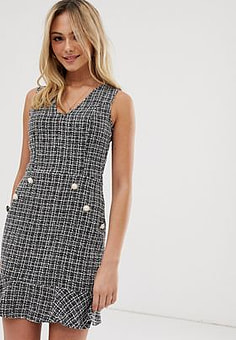 Parisian tweed dress with fluted hem and pearl effect buttons-Black