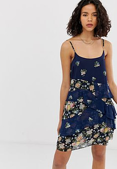 Pepe Jeans Mixed Floral Layered Mini Dress-Navy