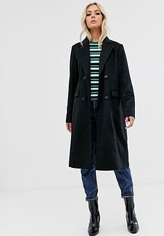 Pieces long double breasted coat-Black