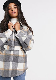 Pieces shacket with belted waist in grey check-Multi