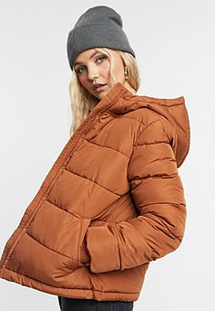 Pieces short padded jacket in rust-Orange
