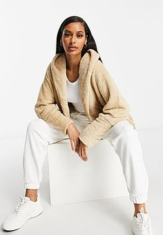 QED London chuck on soft touch jacket in camel-Tan