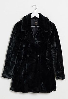 QED London double breasted faux fur coat in black