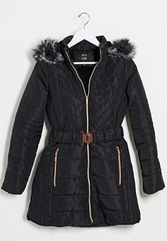 QED London quilted puffer coat with belt in black