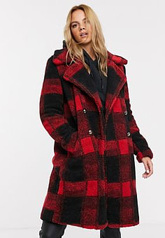 QED London teddy coat with double button detail in check print-Multi