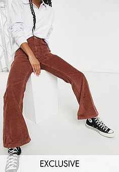 Reclaimed Vintage inspired The '87 flared jean in rust cord-Brown