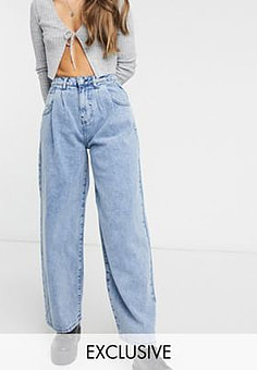 Reclaimed Vintage inspired The '97 high waist wide leg mom jean in light wash blue