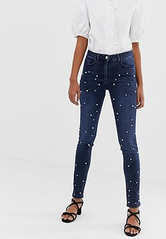 Soaked in Luxury pearl embellished jeans-Blue