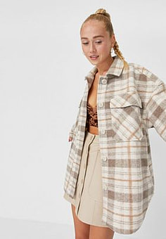 Stradivarius recycled polyester check shacket in brown