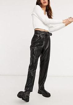 Ted Baker Faydell ponte leather belted trouser in black