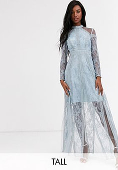 True Decadence long sleeve contrast lace maxi dress in blue