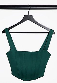True Violet exclusive corset detail pointed bustier top in forest green