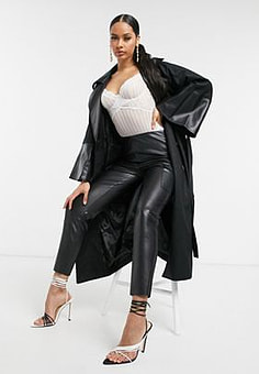Unique 21 double breasted trench coat in black