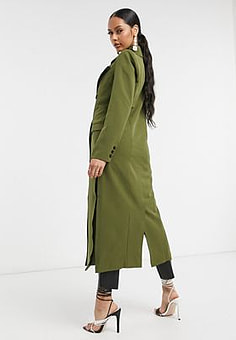 Unique 21 tailored trench coat in khaki-Green