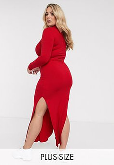 Urban Bliss high neck fitted maxi dress with side splits-Red