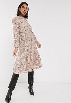 Vero Moda pleated midi dress with lace insert in pink ditsy PRINT