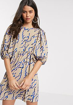 Vero Moda skater dress with puff sleeve and lace back detail in nude abstract print-Multi