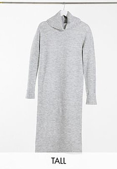 Vero Moda jumper dress with roll neck in grey