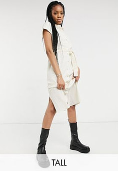 Vero Moda shirt dress with tie waist in oatmeal-Beige