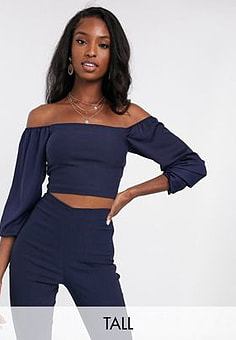 Vesper bardot crop top with long fluted sleeves co ord in navy
