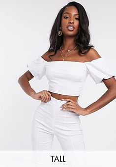 Vesper bardot crop top with puff sleeve co ord in white