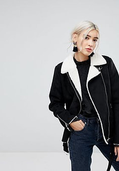 Vila aviator jacket with shearling lining-Black