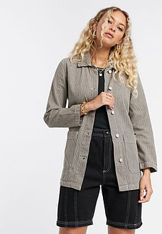 Vila denim tie waist jacket in green