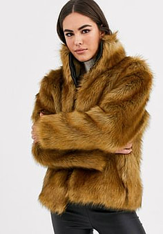 Vila faux fur short jacket-Tan