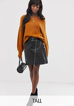 Y.A.S belted leather skirt-Black