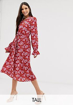 Y.A.S floral print long sleeve smock dress-Pink