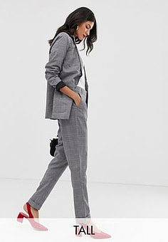 Y.A.S Thesis check co-ord tailored trousers-Grey