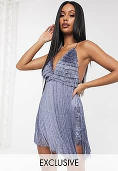 A Star Is Born exclusive fringe mini swing dress in charcoal grey