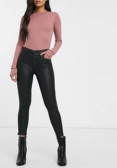 Abercrombie & Fitch coated skinny jeans-Black