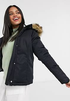 Abercrombie & Fitch faux fur hooded jacket in black