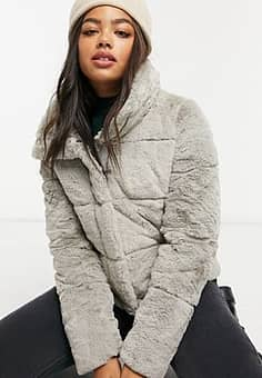 Abercrombie & Fitch faux fur padded jacket in grey