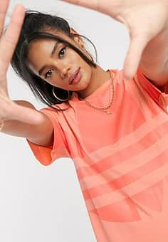 Adidas large logo t-shirt dress in coral-Orange